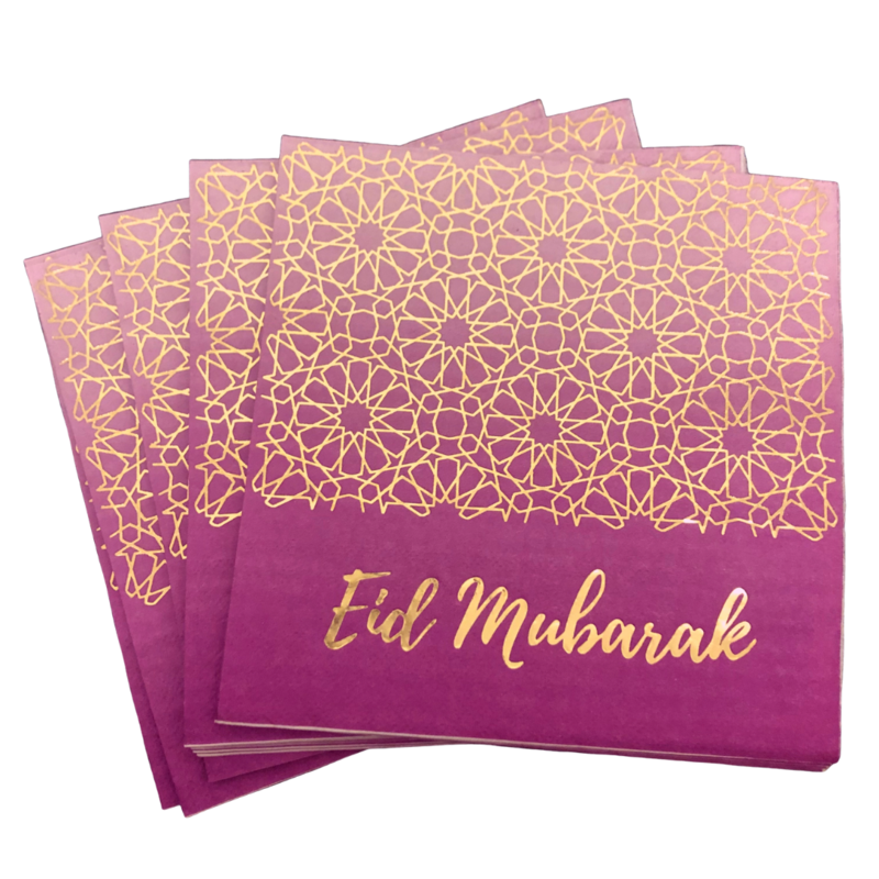 Eid Mubarak Napkins - Purple and Gold - Anafiya Gifts