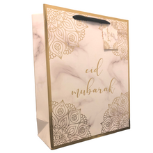 Load image into Gallery viewer, Eid Mubarak Gift Bag - Marble and Gold - Anafiya Gifts