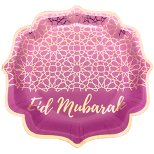 Load image into Gallery viewer, Eid Mubarak Dinner Plates - Purple and Gold - Anafiya Gifts
