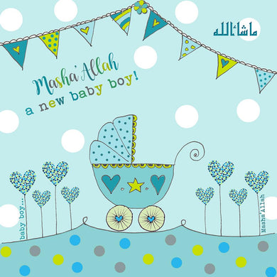 Masha'Allah Baby Boy Card - Blue Pram