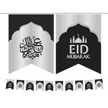 Load image into Gallery viewer, Eid Mubarak Flags - Black & Silver Mosque
