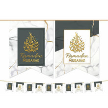 Load image into Gallery viewer, Ramadan Mubarak Flags - White & Grey Marble