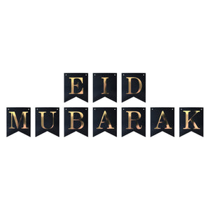 Eid Mubarak Gold Lettering Bunting - Black and Gold - Anafiya Gifts