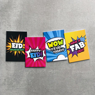 Super Muslims Mini Eid Cards - 8 Pack - Anafiya Gifts