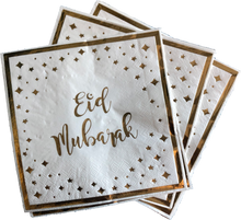 Load image into Gallery viewer, Eid Mubarak Napkins - White and Gold - Anafiya Gifts