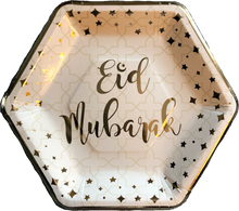 Load image into Gallery viewer, Eid Mubarak Dinner Plates - White and Gold - Anafiya Gifts