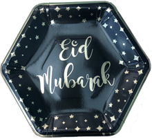 Load image into Gallery viewer, Eid Mubarak Dinner Plates - Black and Gold - Anafiya Gifts