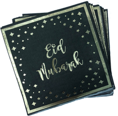 Eid Mubarak Napkins - Black and Gold - Anafiya Gifts