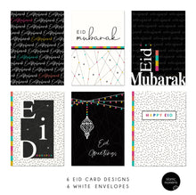 Load image into Gallery viewer, Eid Cards - 6 Pack - Black & White