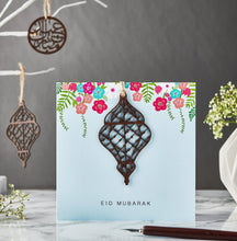 Load image into Gallery viewer, Laser Cut Wooden Lantern Eid Mubarak Card - Blue - Anafiya Gifts