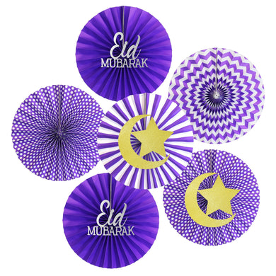 Purple Eid Fan Set - 6 Pack - Anafiya Gifts