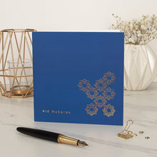 Load image into Gallery viewer, Eid Mubarak Gold Foil Card - Cobalt Blue