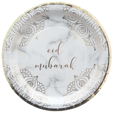 Eid Mubarak Dinner Plates - Marble and Gold - Anafiya Gifts