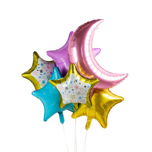 Crescent Moon Foil Balloons - Pack of 3