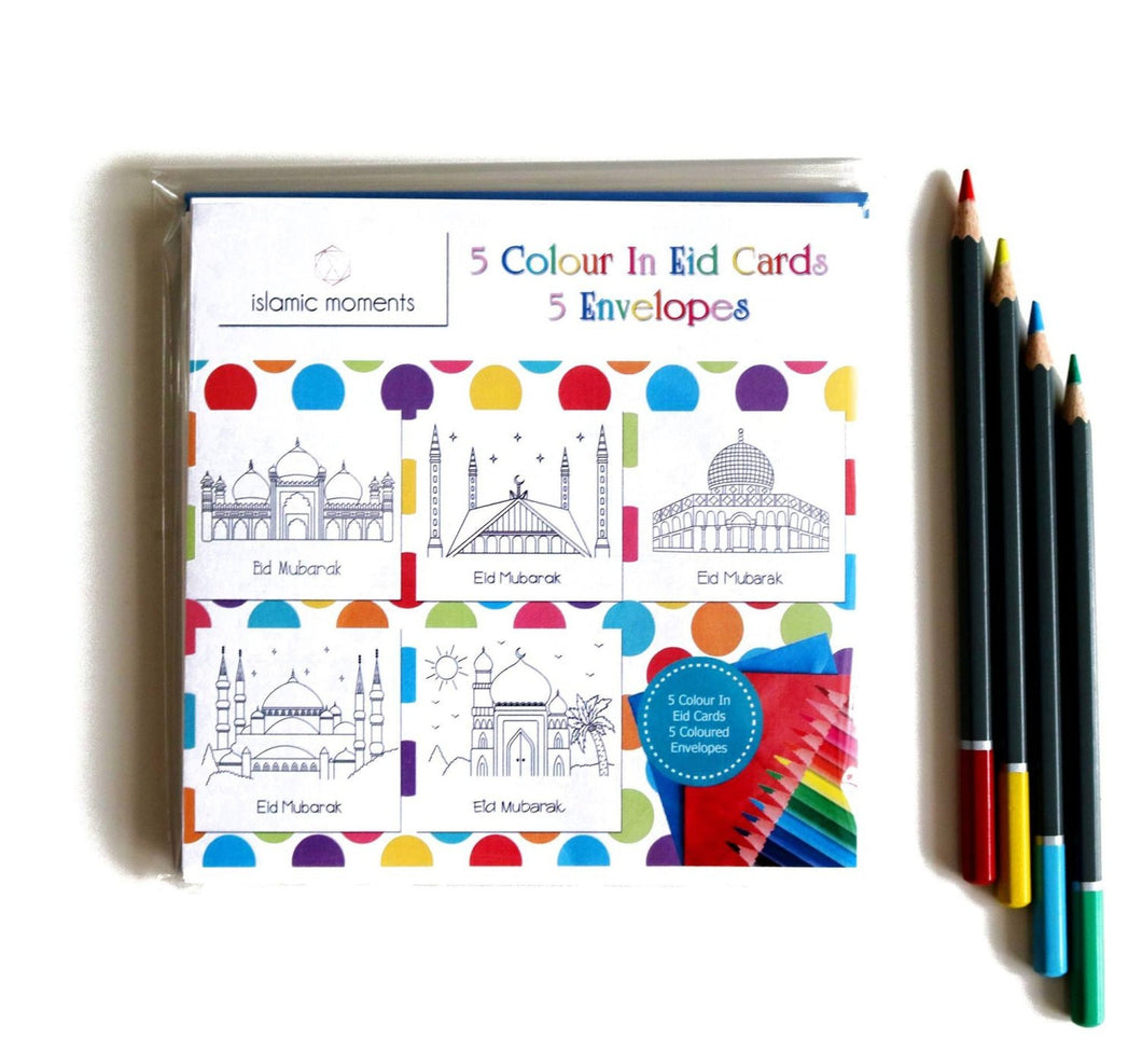 Colour In Eid Cards - Pack of 5 - Anafiya Gifts