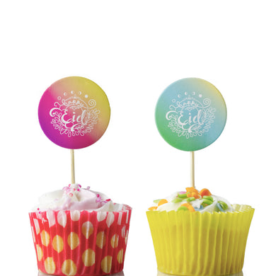 Pastel Sunset Eid Cupcake Toppers - 10pk