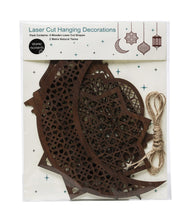 Load image into Gallery viewer, Large Wooden Laser Cut Hanging Ornaments - 4 Pack - Anafiya Gifts