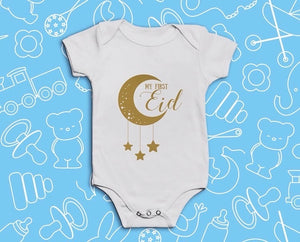 My First Eid Baby Vest - Gold Crescent - Anafiya Gifts
