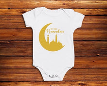 Load image into Gallery viewer, My First Ramadan Baby Vest - Gold Crescent - Anafiya Gifts
