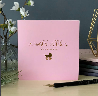 Masha'Allah, A New Baby! Gold Foiled Card - Pink - Anafiya Gifts