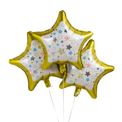 Gold & White Star Foil Balloons - Pack of 3