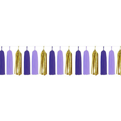 Purple & Gold Paper Tassels - 15pcs