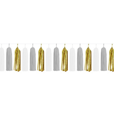 Gold & White Paper Tassels - 15pcs