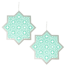 Load image into Gallery viewer, Star Hanging Decorations - Green & Silver - 2 Pack