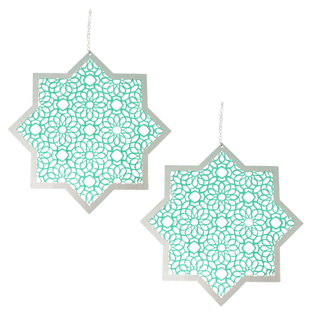 Star Hanging Decorations - Green & Silver - 2 Pack