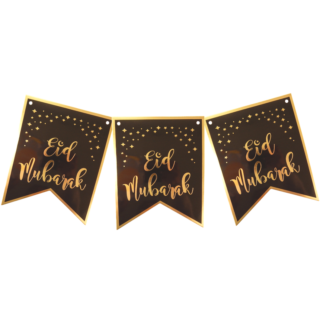 Eid Mubarak Banner - Black and Gold