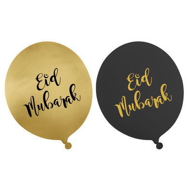 Eid Mubarak Balloons - Black and Gold