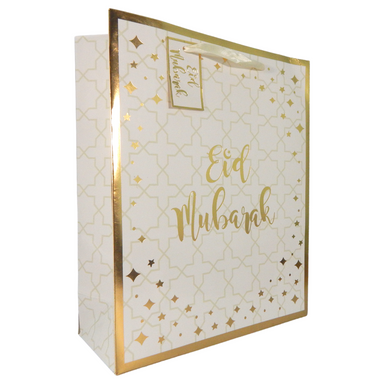Eid Mubarak Gift Bag - White and Gold