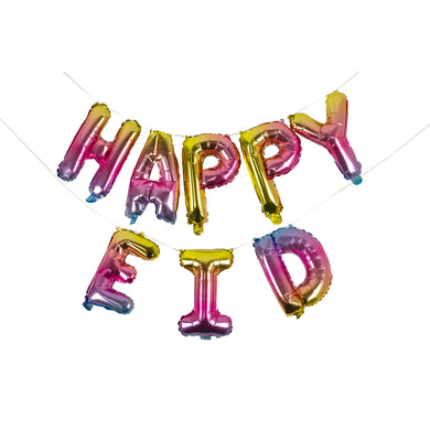 Rainbow Happy Eid Foil Balloons