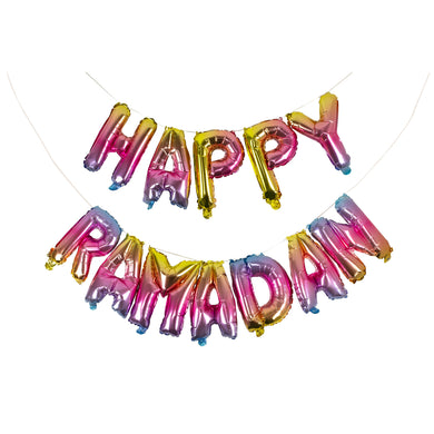 Rainbow Happy Ramadan Foil Balloons