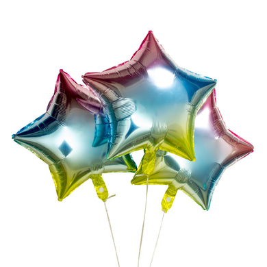 Rainbow Star Foil Balloons - Pack of 3