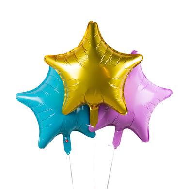 Pastel Star Foil Balloons - Pack of 3