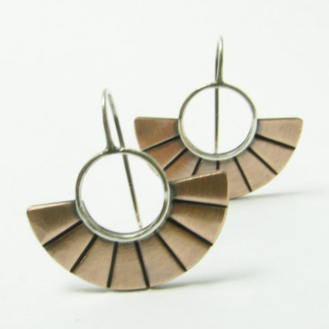 Contemporary Small Argentium Sterling Silver And Copper Fan Earrings - Mocahete - 1
