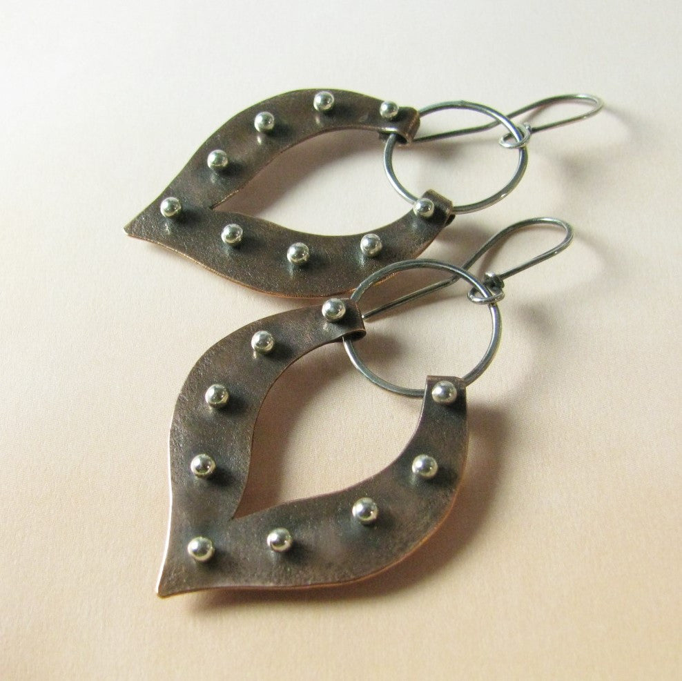 Large Pinned Lotus Mixed Metal Sterling Silver And Copper Earrings - Mocahete - 1