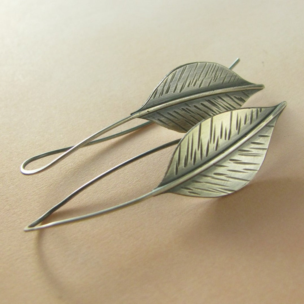 Long Sterling Silver Leaf Earrings - Mocahete - 1