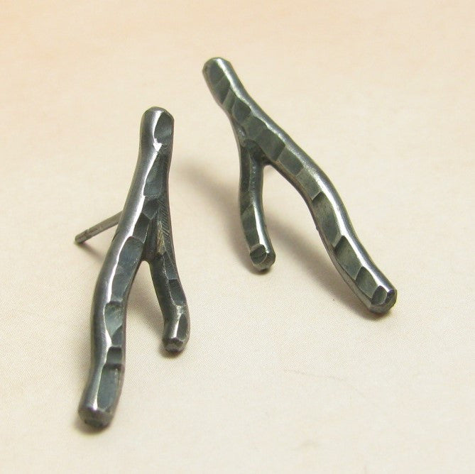 Argentium Sterling Silver Twig Earrings - Mocahete - 1