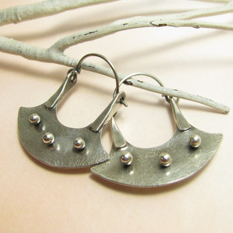 Argentium Sterling Silver Modern Tribal Blade Hoop Earrings - Mocahete - 1