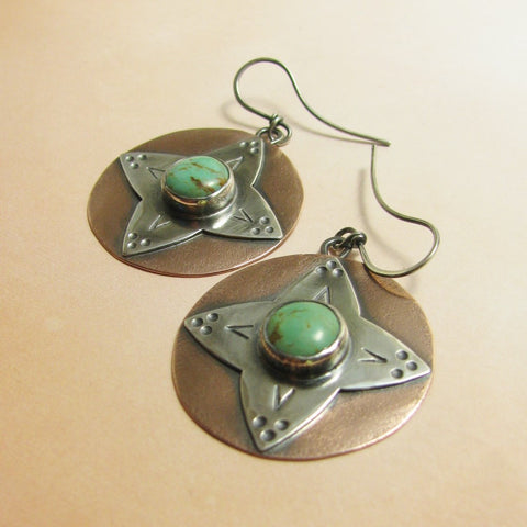 Artisan Copper And Sterling Silver Mixed Metal And Turquoise Southwest Earrings - Mocahete - 1