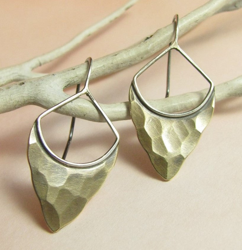 Bronze And Sterling Silver Forged Pixie Earrings - Mocahete - 1