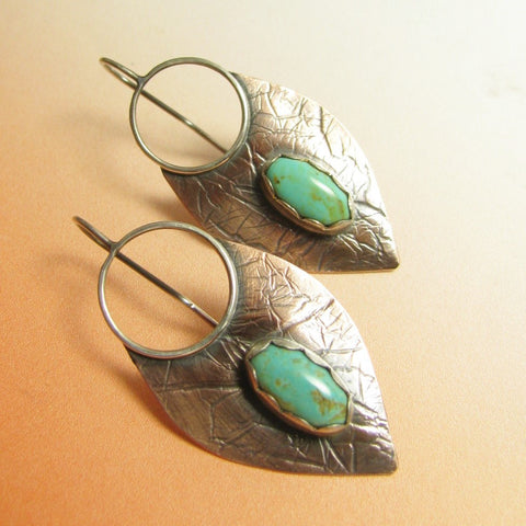 Large Copper, Sterling Silver And Turquoise Lotus Shield Earrings - Mocahete - 1