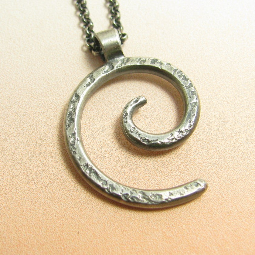 Sterling Silver Spiral Pendant Necklace - Mocahete - 1