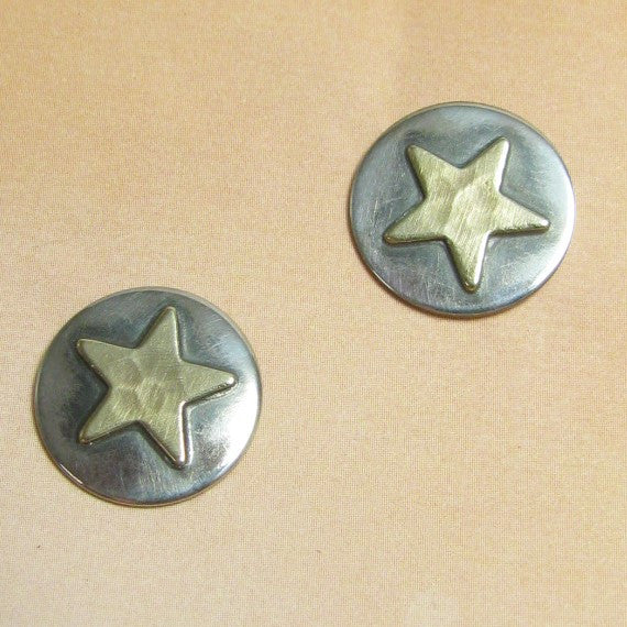 Sterling Silver And Brass Mixed Metal Star Earrings, Post Backs, Metalsmith Jewelry - Mocahete - 1
