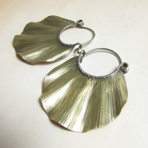 Large Brass And Sterling Silver Ruffle Hoops - Mocahete - 1
