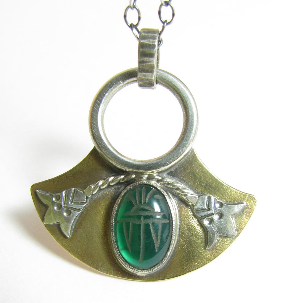 Mixed Metal, Lotus And Green Onyx Scarab Necklace, Argentium And Bronze Jewelry - Mocahete - 1