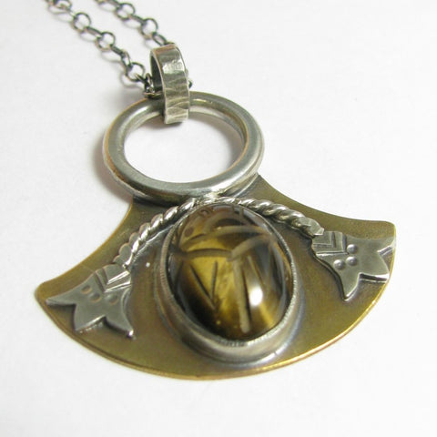 Bronze And Sterling Silver Tiger Eye Scarab Pendant Necklace - Mocahete - 1