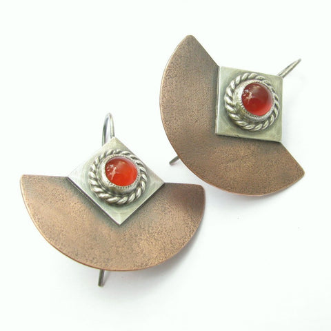 Mixed Metal, Copper, Sterling Silver And Carnelian Earrings - Mocahete - 1